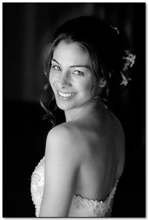 black and white portrait of a bride