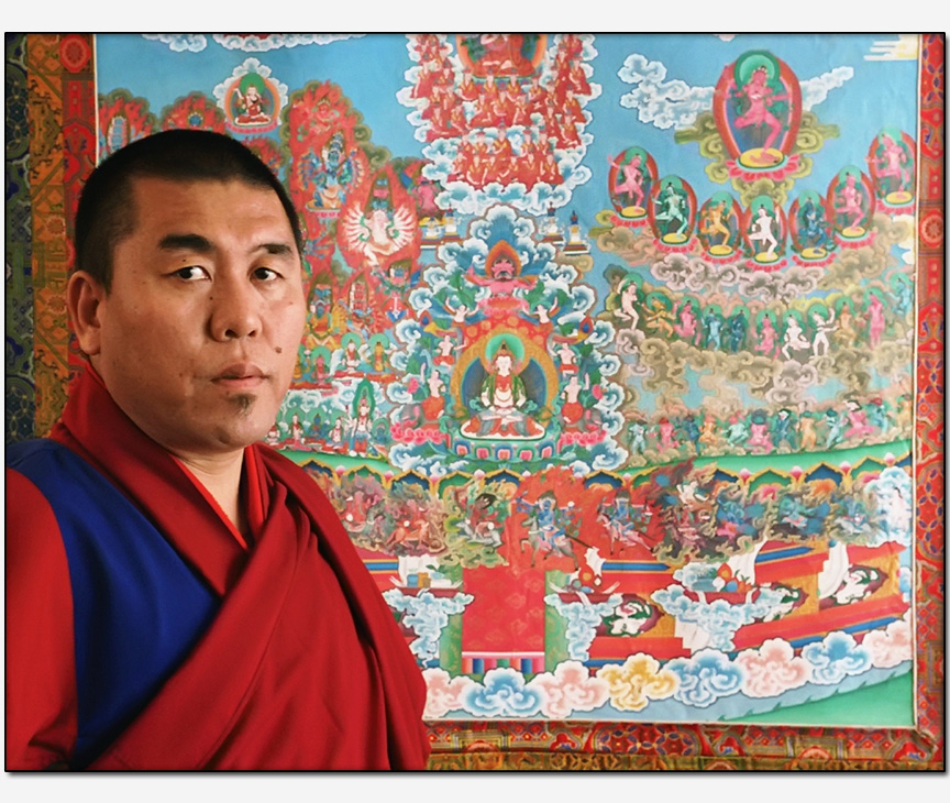 BonPo Tibetan monk Geshe Nyima Dakpa Rinpoche and thangka depicting lineage