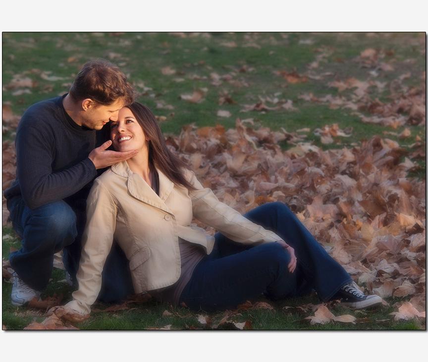 autumn leaves tender caress loving couple