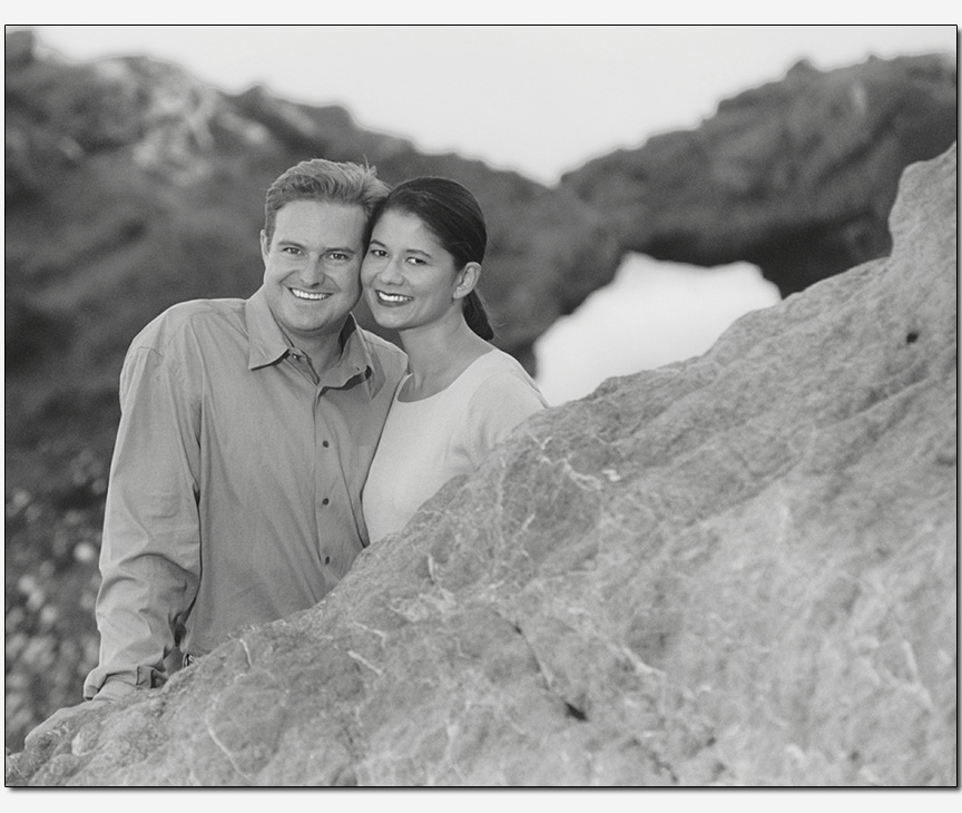 on-location engagement session with a pose befitting the scenery