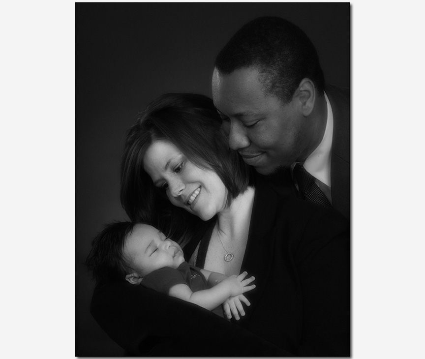 family maternity newborn with mom and dad portrait